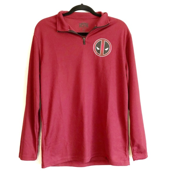 7339a0a4 hero elite Shirts   Mens M Deadpool Red And Black Pullover   Poshmark